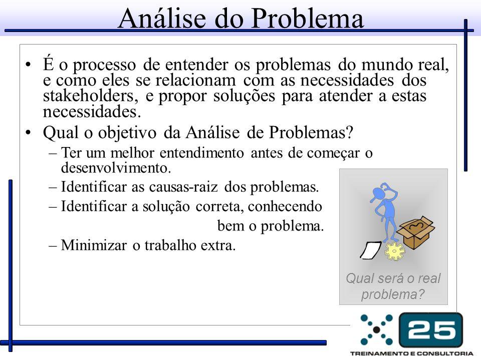 Análise do Problema É o processo de entender os problemas do mundo real, e como eles se relacionam com as necessidades dos stakeholders, e propor soluções para atender a estas necessidades.
