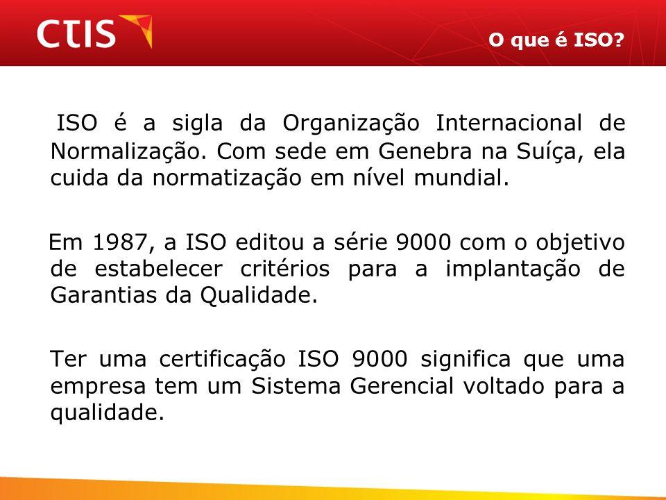 O que é ISO? ISO é a sigla da Organização Internacional de Normalização. Com sede em Genebra na Suíça, ela cuida da normatização em nível mundial. Em