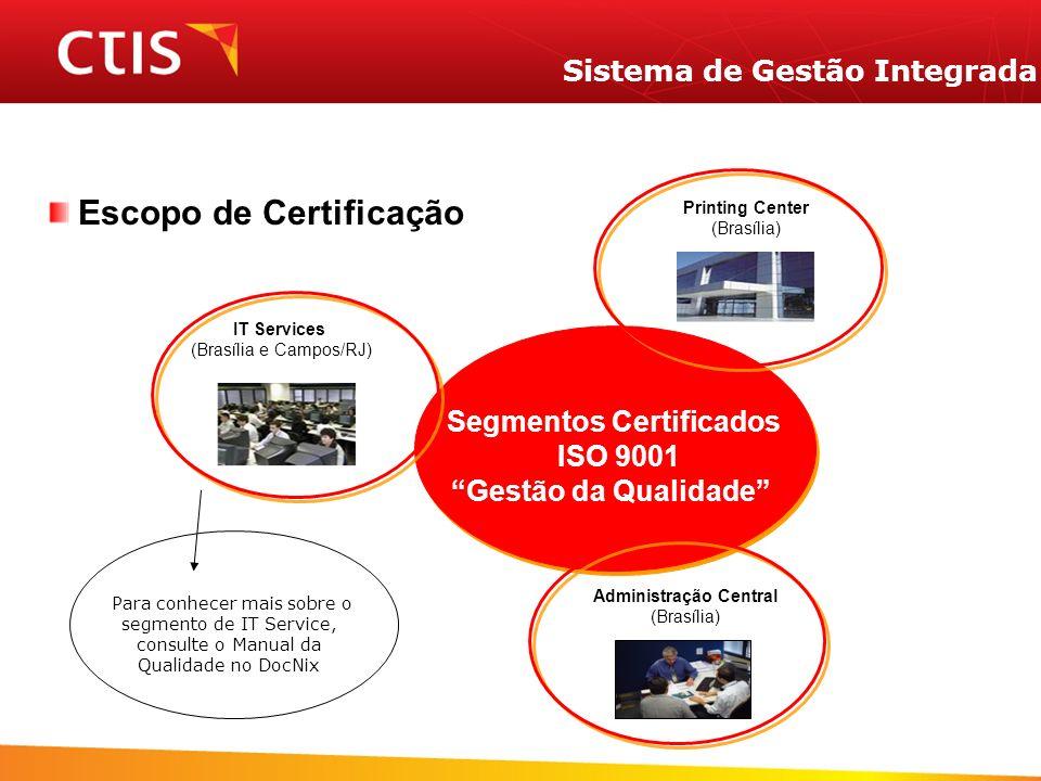 Sistema de Gestão Integrada Escopo de Certificação Segmentos Certificados ISO 9001 Gestão da Qualidade Administração Central (Brasília) Printing Center (Brasília) IT Services (Brasília e Campos/RJ) Para conhecer mais sobre o segmento de IT Service, consulte o Manual da Qualidade no DocNix