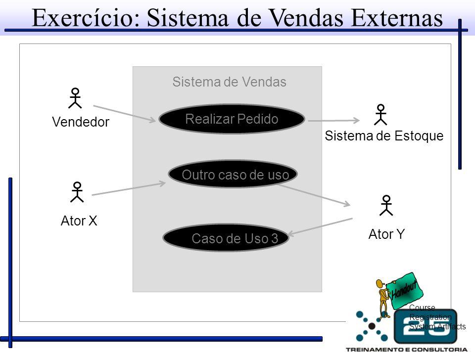 Exercício: Sistema de Vendas Externas Sistema de Estoque Vendedor Sistema de Vendas Ator X Ator Y Realizar Pedido Course Registration System Artifacts