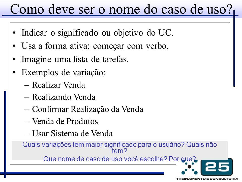 Indicar o significado ou objetivo do UC. Usa a forma ativa; começar com verbo. Imagine uma lista de tarefas. Exemplos de variação: –Realizar Venda –Re