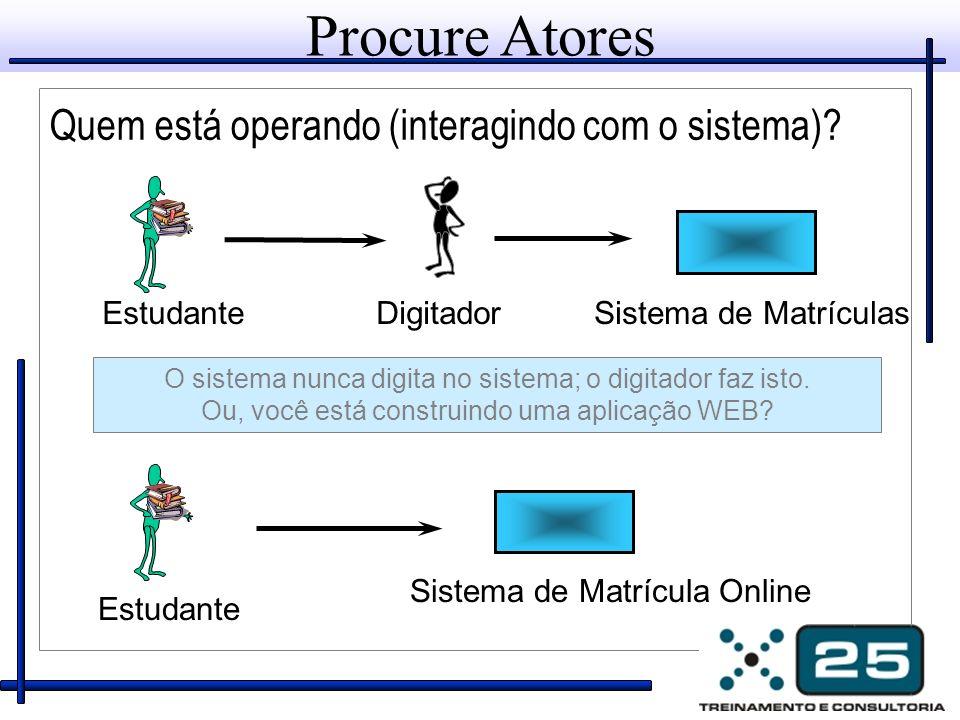 EstudanteDigitadorSistema de Matrículas O sistema nunca digita no sistema; o digitador faz isto. Ou, você está construindo uma aplicação WEB? Sistema