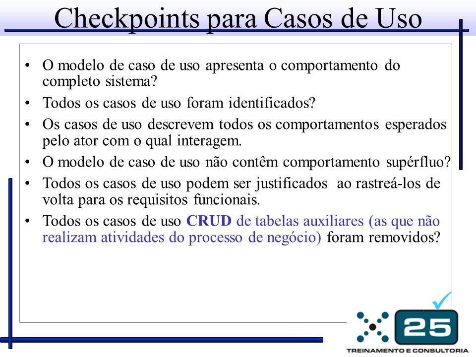 Checkpoints para Casos de Uso O modelo de caso de uso apresenta o comportamento do completo sistema? Todos os casos de uso foram identificados? Os cas