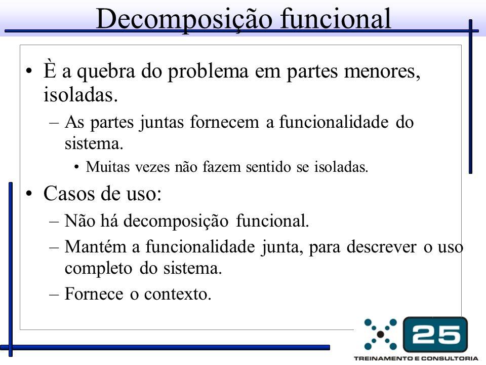 Decomposição funcional È a quebra do problema em partes menores, isoladas. –As partes juntas fornecem a funcionalidade do sistema. Muitas vezes não fa