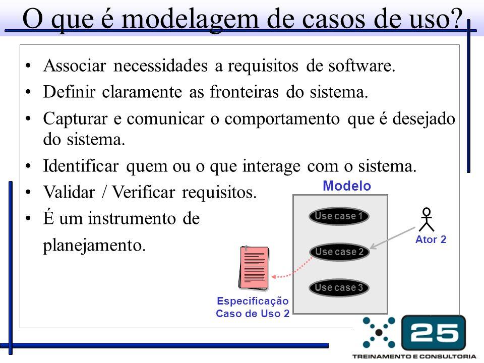 O que é modelagem de casos de uso? Associar necessidades a requisitos de software. Definir claramente as fronteiras do sistema. Capturar e comunicar o