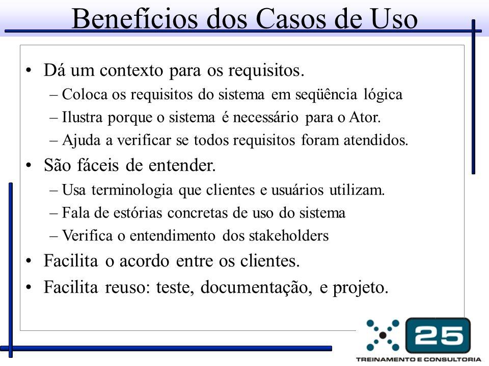 Benefícios dos Casos de Uso Dá um contexto para os requisitos. –Coloca os requisitos do sistema em seqüência lógica –Ilustra porque o sistema é necess