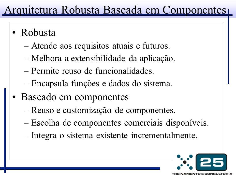Arquitetura Robusta Baseada em Componentes Robusta –Atende aos requisitos atuais e futuros. –Melhora a extensibilidade da aplicação. –Permite reuso de