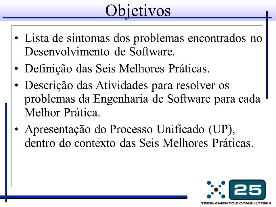 Objetivos Lista de sintomas dos problemas encontrados no Desenvolvimento de Software. Definição das Seis Melhores Práticas. Descrição das Atividades p