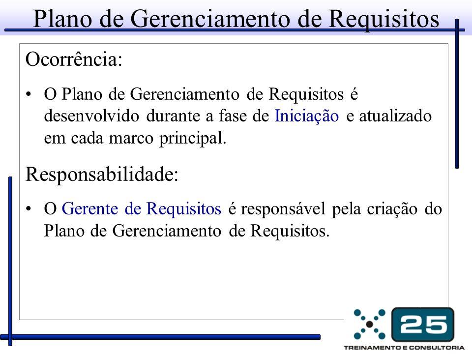 Plano de Gerenciamento de Requisitos Ocorrência: O Plano de Gerenciamento de Requisitos é desenvolvido durante a fase de Iniciação e atualizado em cada marco principal.