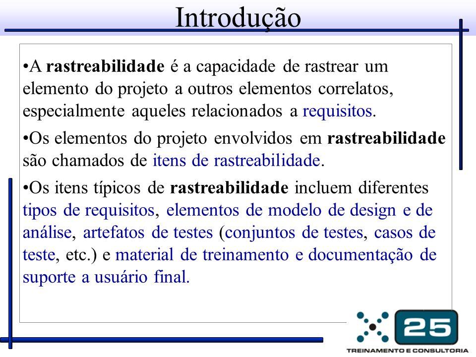 Introdução A rastreabilidade é a capacidade de rastrear um elemento do projeto a outros elementos correlatos, especialmente aqueles relacionados a req