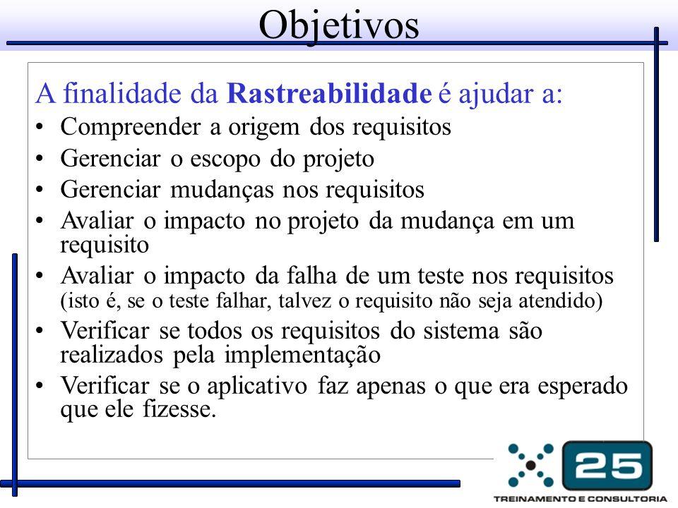 Objetivos A finalidade da Rastreabilidade é ajudar a: Compreender a origem dos requisitos Gerenciar o escopo do projeto Gerenciar mudanças nos requisi