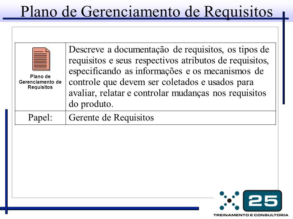 Plano de Gerenciamento de Requisitos Descreve a documentação de requisitos, os tipos de requisitos e seus respectivos atributos de requisitos, especif