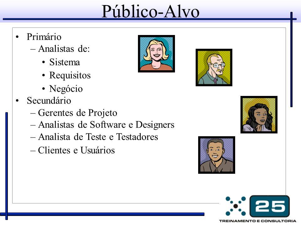 Público-Alvo Primário –Analistas de: Sistema Requisitos Negócio Secundário –Gerentes de Projeto –Analistas de Software e Designers –Analista de Teste e Testadores –Clientes e Usuários