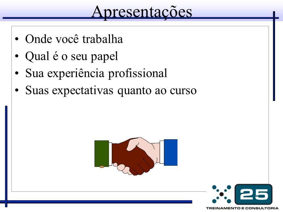 Apresentações Onde você trabalha Qual é o seu papel Sua experiência profissional Suas expectativas quanto ao curso