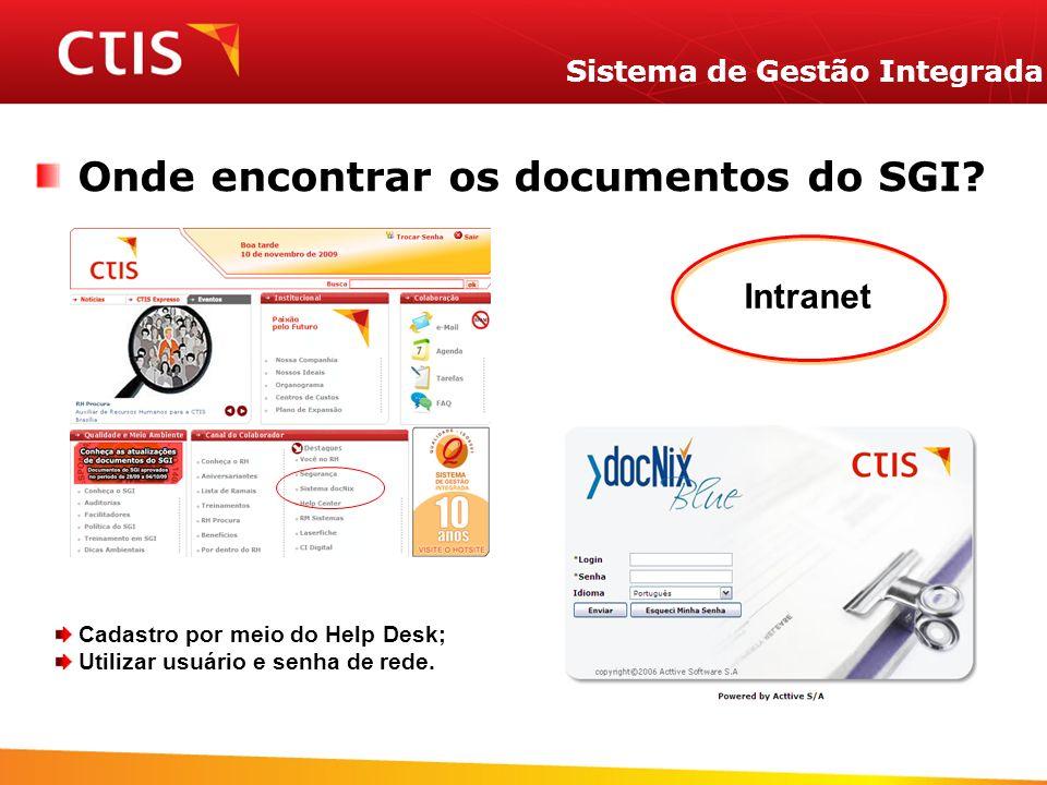 Sistema de Gestão Integrada Onde encontrar os documentos do SGI? Intranet Cadastro por meio do Help Desk; Utilizar usuário e senha de rede.