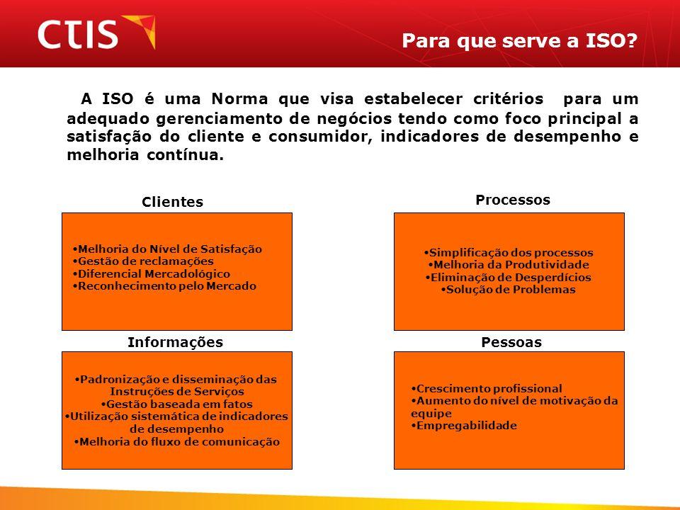 Para que serve a ISO? A ISO é uma Norma que visa estabelecer critérios para um adequado gerenciamento de negócios tendo como foco principal a satisfaç