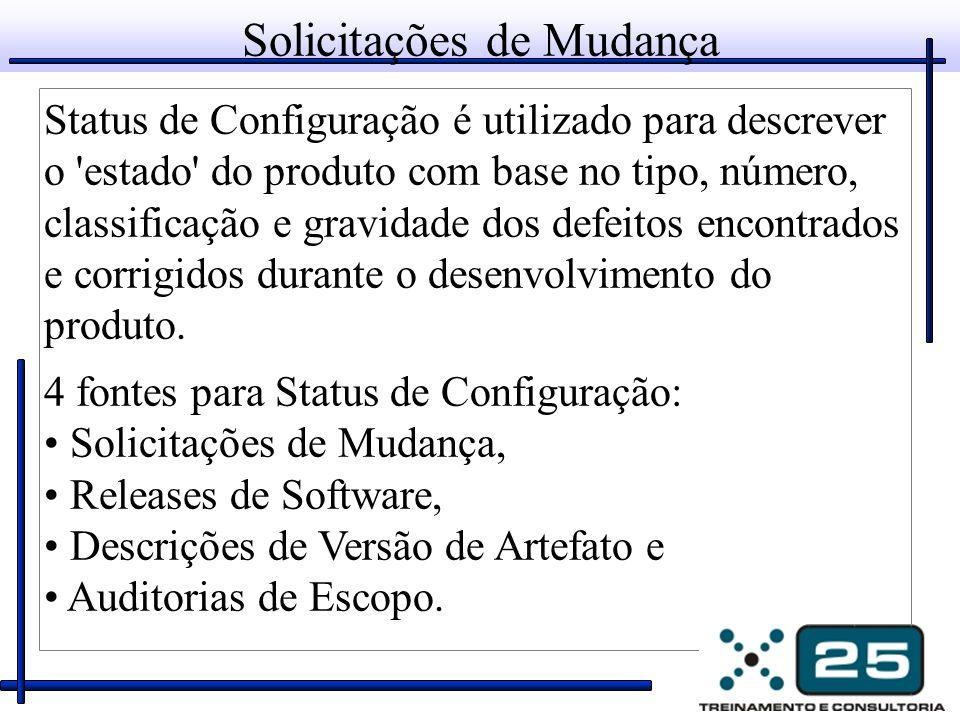 Solicitações de Mudança Status de Configuração é utilizado para descrever o estado do produto com base no tipo, número, classificação e gravidade dos defeitos encontrados e corrigidos durante o desenvolvimento do produto.
