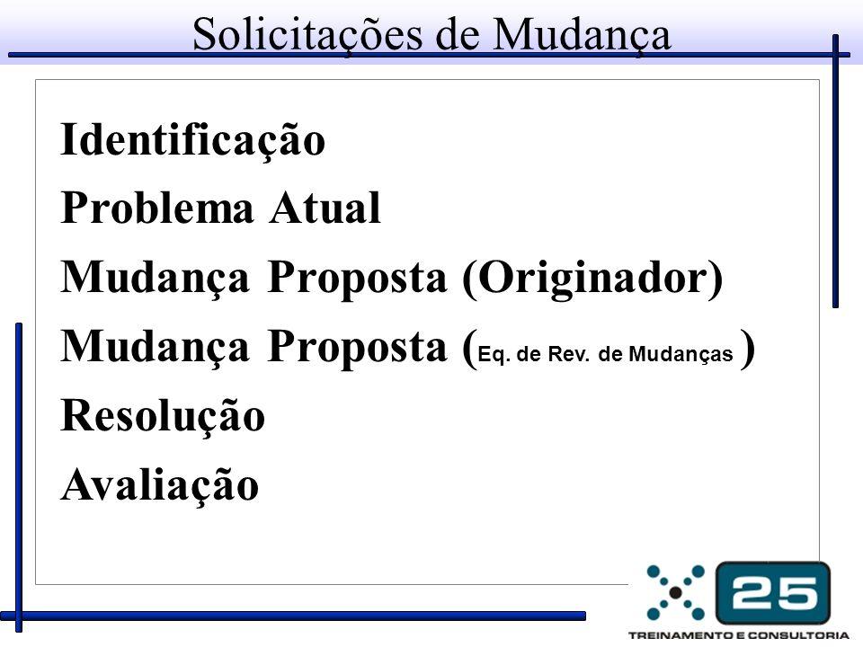 Solicitações de Mudança Identificação Problema Atual Mudança Proposta (Originador) Mudança Proposta ( Eq.