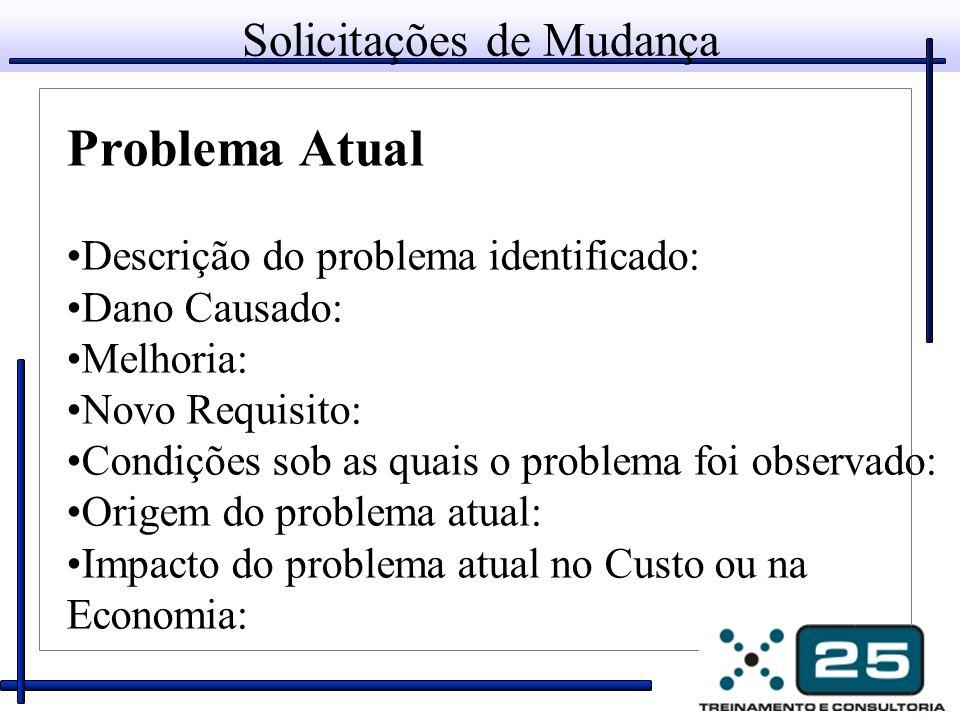 Solicitações de Mudança Problema Atual Descrição do problema identificado: Dano Causado: Melhoria: Novo Requisito: Condições sob as quais o problema f