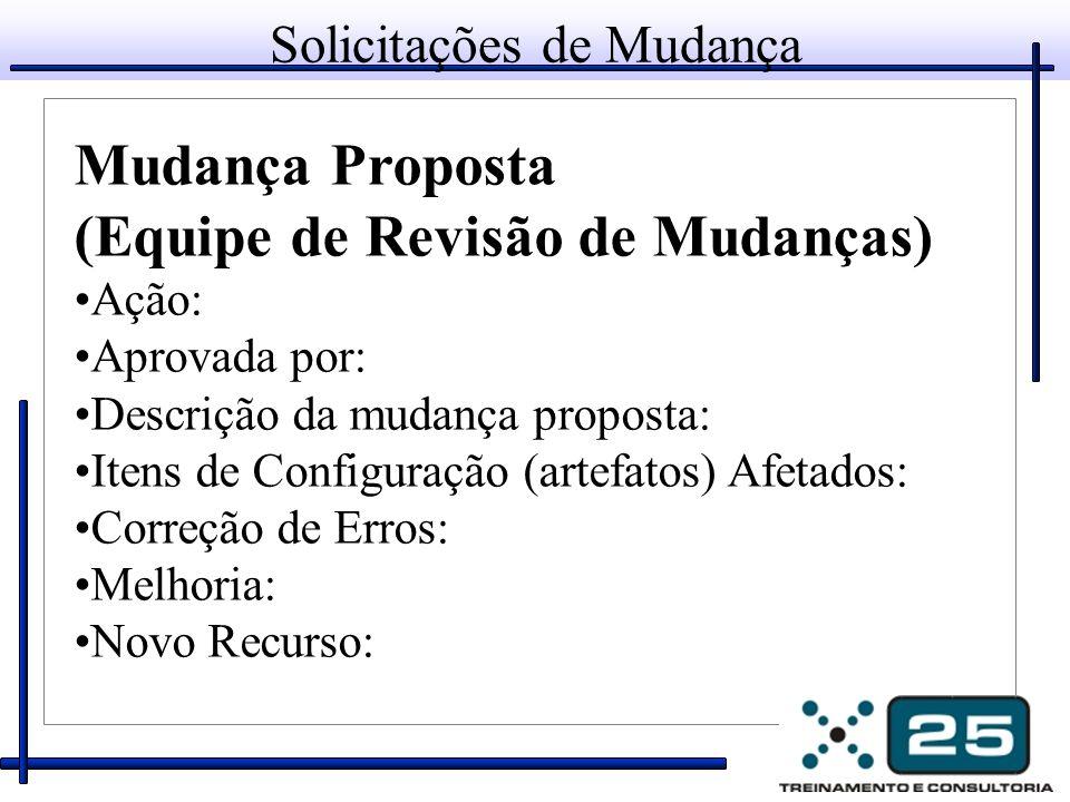 Solicitações de Mudança Mudança Proposta (Equipe de Revisão de Mudanças) Ação: Aprovada por: Descrição da mudança proposta: Itens de Configuração (art