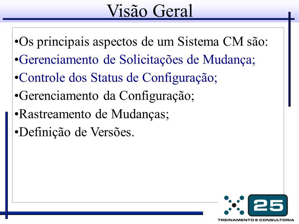 Visão Geral Os principais aspectos de um Sistema CM são: Gerenciamento de Solicitações de Mudança; Controle dos Status de Configuração; Gerenciamento da Configuração; Rastreamento de Mudanças; Definição de Versões.