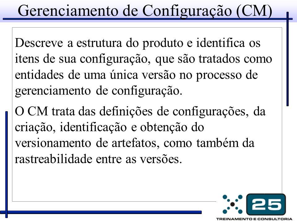 Gerenciamento de Configuração (CM) Descreve a estrutura do produto e identifica os itens de sua configuração, que são tratados como entidades de uma única versão no processo de gerenciamento de configuração.
