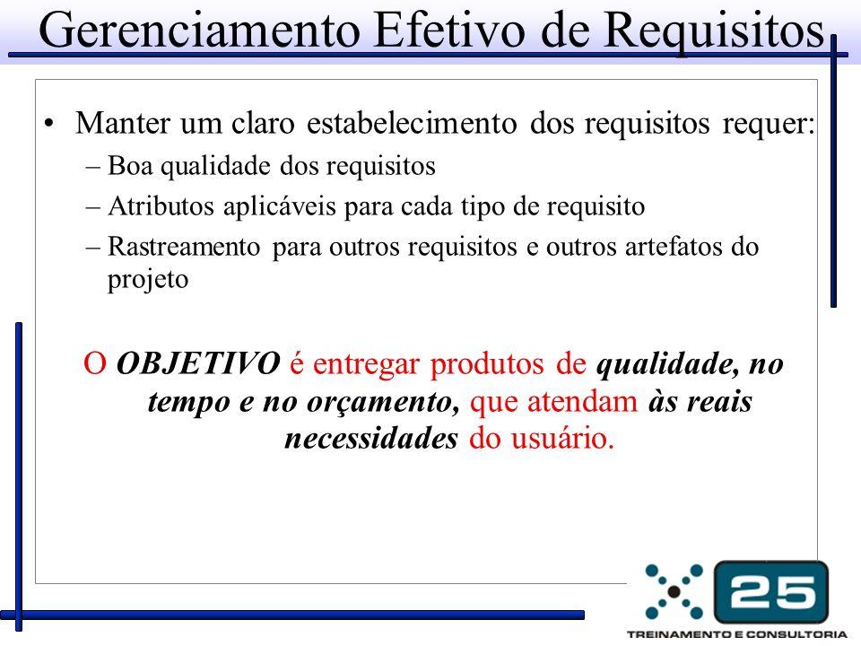 Gerenciamento Efetivo de Requisitos Manter um claro estabelecimento dos requisitos requer: –Boa qualidade dos requisitos –Atributos aplicáveis para ca