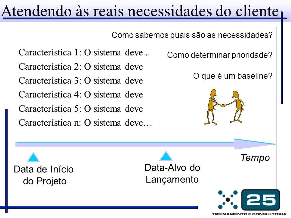 Atendendo às reais necessidades do cliente Característica 1: O sistema deve... Característica 2: O sistema deve Característica 3: O sistema deve Carac
