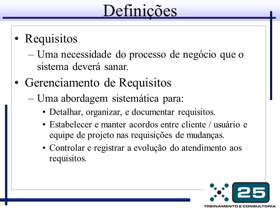 Definições Requisitos –Uma necessidade do processo de negócio que o sistema deverá sanar. Gerenciamento de Requisitos –Uma abordagem sistemática para: