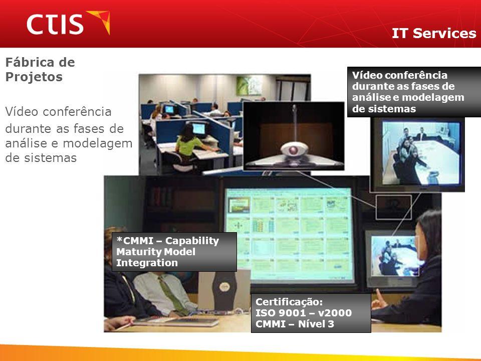 Certificação: ISO 9001 – v2000 CMMI – Nível 3 *CMMI – Capability Maturity Model Integration Vídeo conferência durante as fases de análise e modelagem