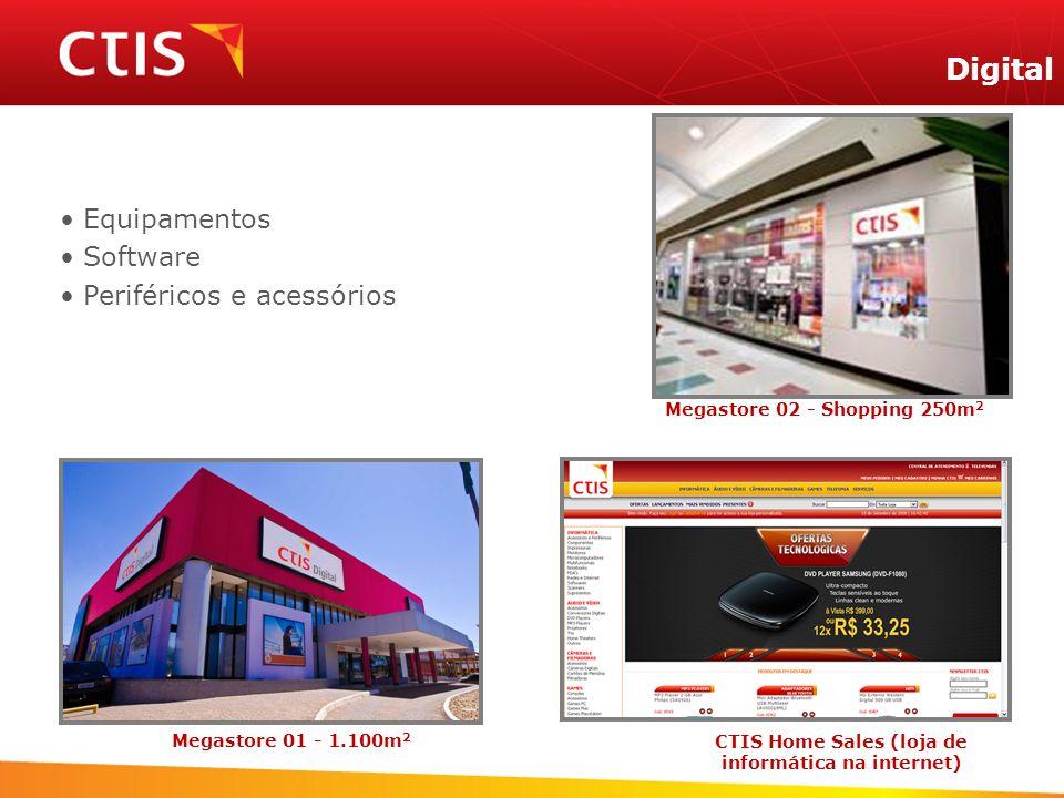 CTIS Home Sales (loja de informática na internet) Digital Megastore 01 - 1.100m 2 Megastore 02 - Shopping 250m 2 Equipamentos Software Periféricos e a
