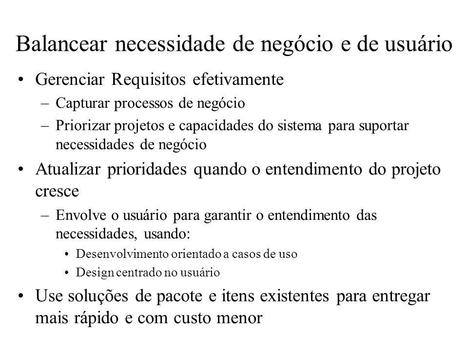 Balancear necessidade de negócio e de usuário Gerenciar Requisitos efetivamente –Capturar processos de negócio –Priorizar projetos e capacidades do si