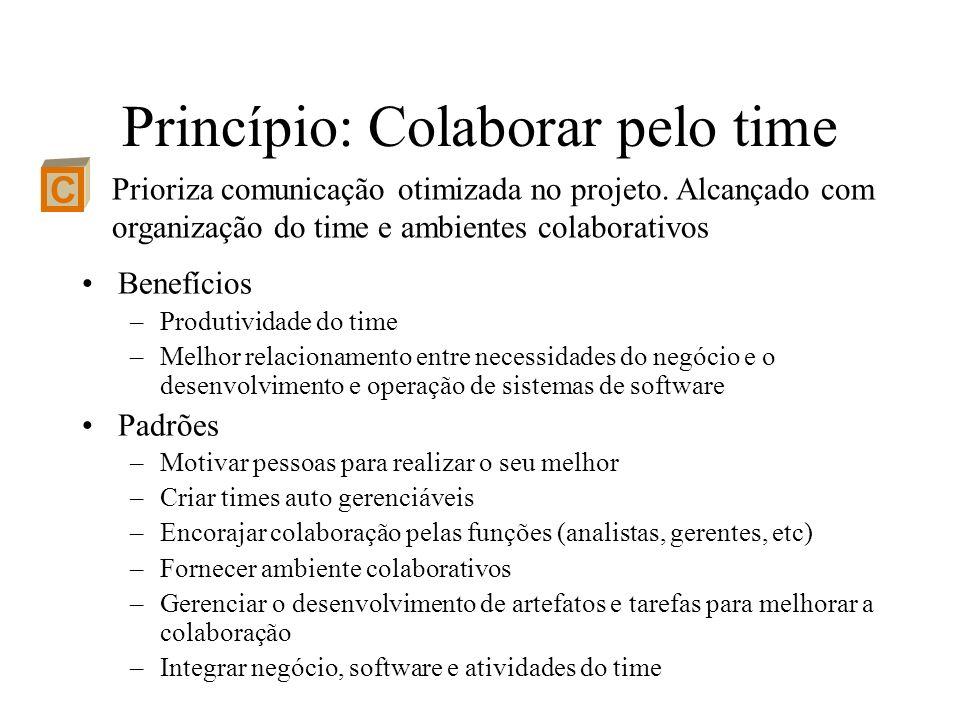 Princípio: Colaborar pelo time Benefícios –Produtividade do time –Melhor relacionamento entre necessidades do negócio e o desenvolvimento e operação d