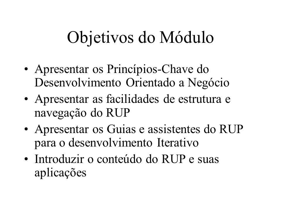 Objetivos do Módulo Apresentar os Princípios-Chave do Desenvolvimento Orientado a Negócio Apresentar as facilidades de estrutura e navegação do RUP Ap