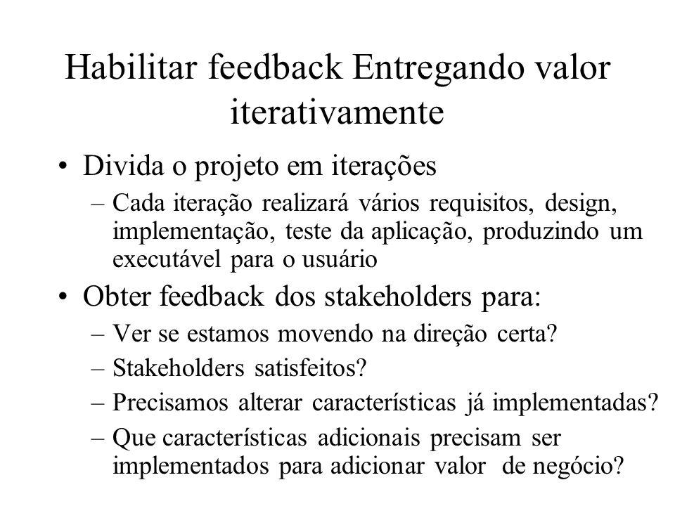 Habilitar feedback Entregando valor iterativamente Divida o projeto em iterações –Cada iteração realizará vários requisitos, design, implementação, te