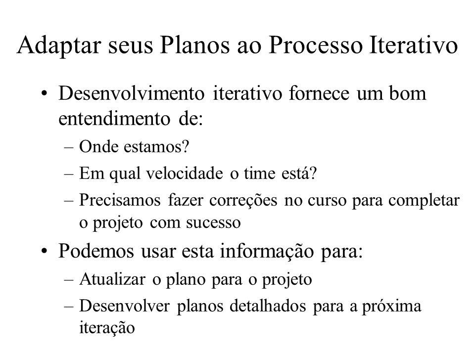 Adaptar seus Planos ao Processo Iterativo Desenvolvimento iterativo fornece um bom entendimento de: –Onde estamos? –Em qual velocidade o time está? –P