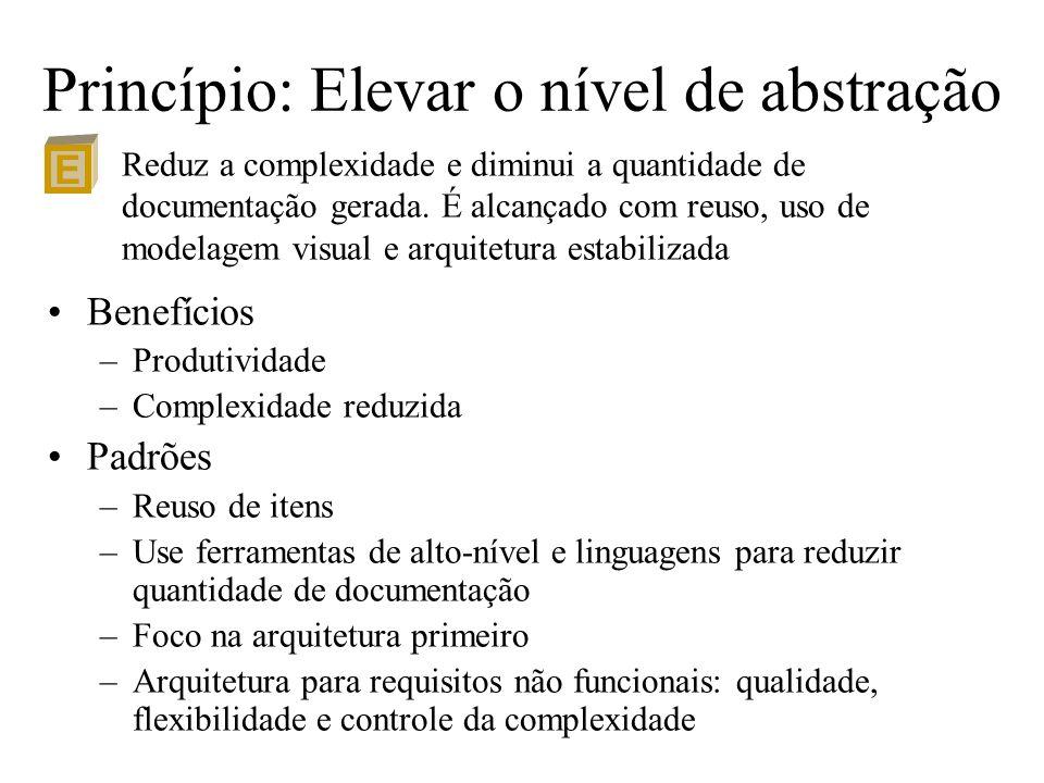 Princípio: Elevar o nível de abstração Benefícios –Produtividade –Complexidade reduzida Padrões –Reuso de itens –Use ferramentas de alto-nível e lingu