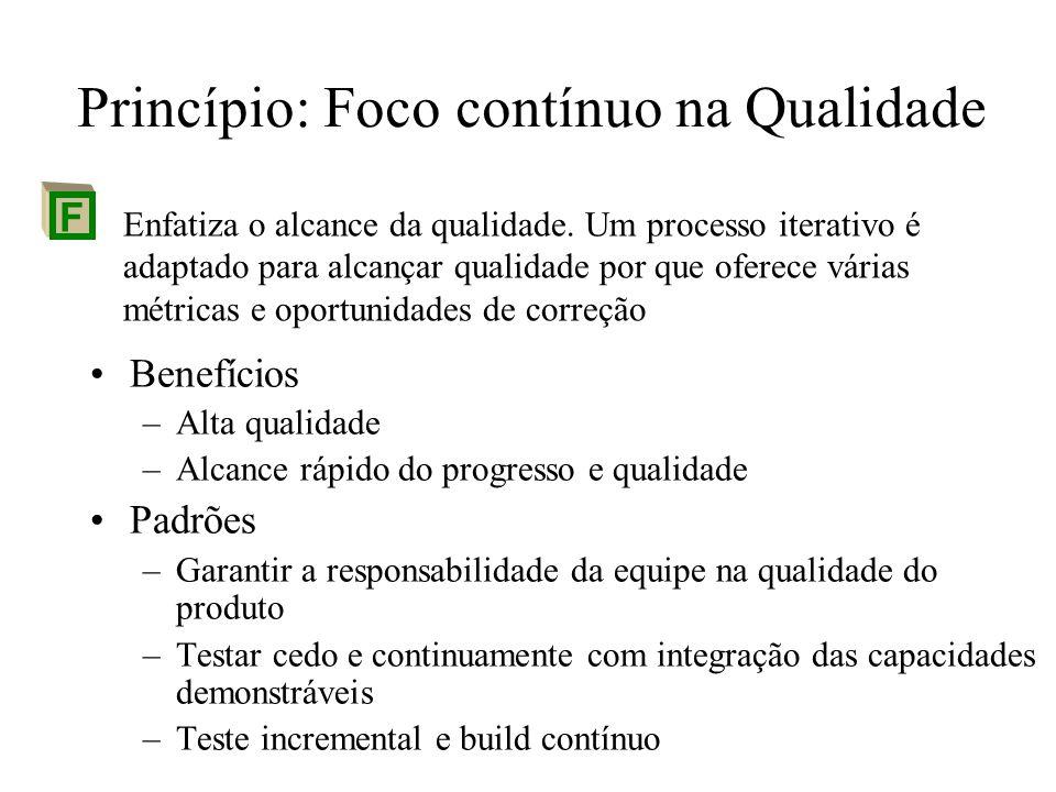 Princípio: Foco contínuo na Qualidade Benefícios –Alta qualidade –Alcance rápido do progresso e qualidade Padrões –Garantir a responsabilidade da equi