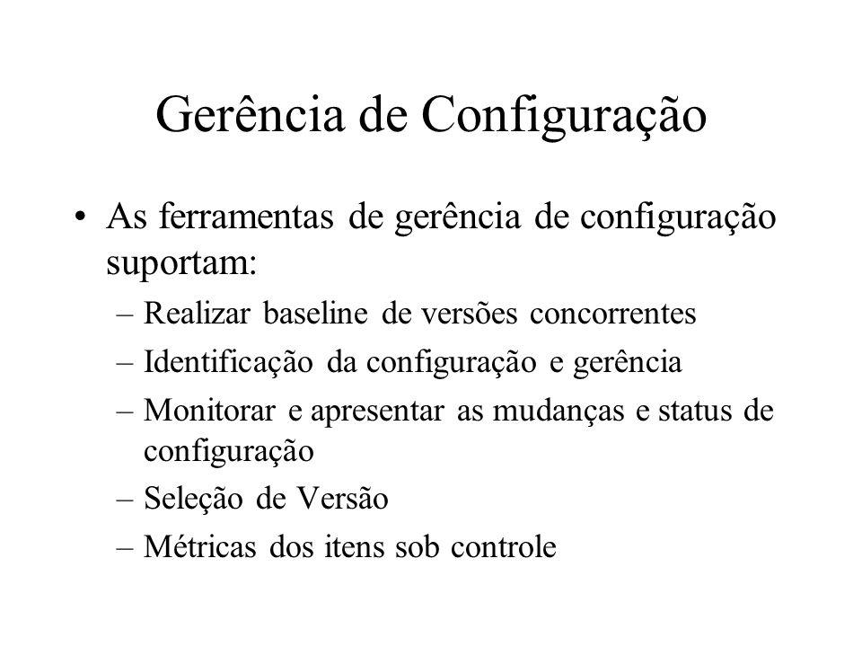 Gerência de Configuração As ferramentas de gerência de configuração suportam: –Realizar baseline de versões concorrentes –Identificação da configuraçã