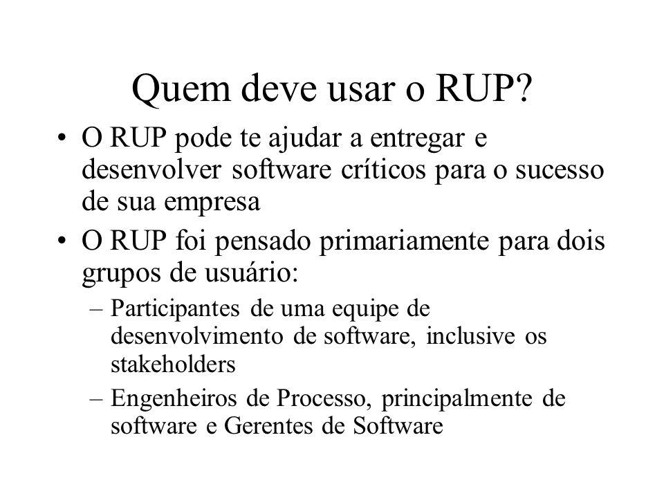 Quem deve usar o RUP? O RUP pode te ajudar a entregar e desenvolver software críticos para o sucesso de sua empresa O RUP foi pensado primariamente pa
