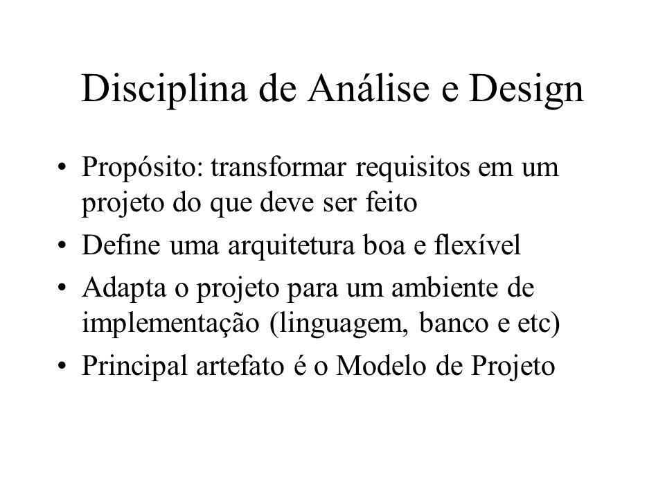 Disciplina de Análise e Design Propósito: transformar requisitos em um projeto do que deve ser feito Define uma arquitetura boa e flexível Adapta o pr