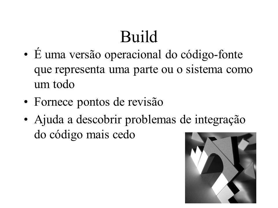 Build É uma versão operacional do código-fonte que representa uma parte ou o sistema como um todo Fornece pontos de revisão Ajuda a descobrir problema