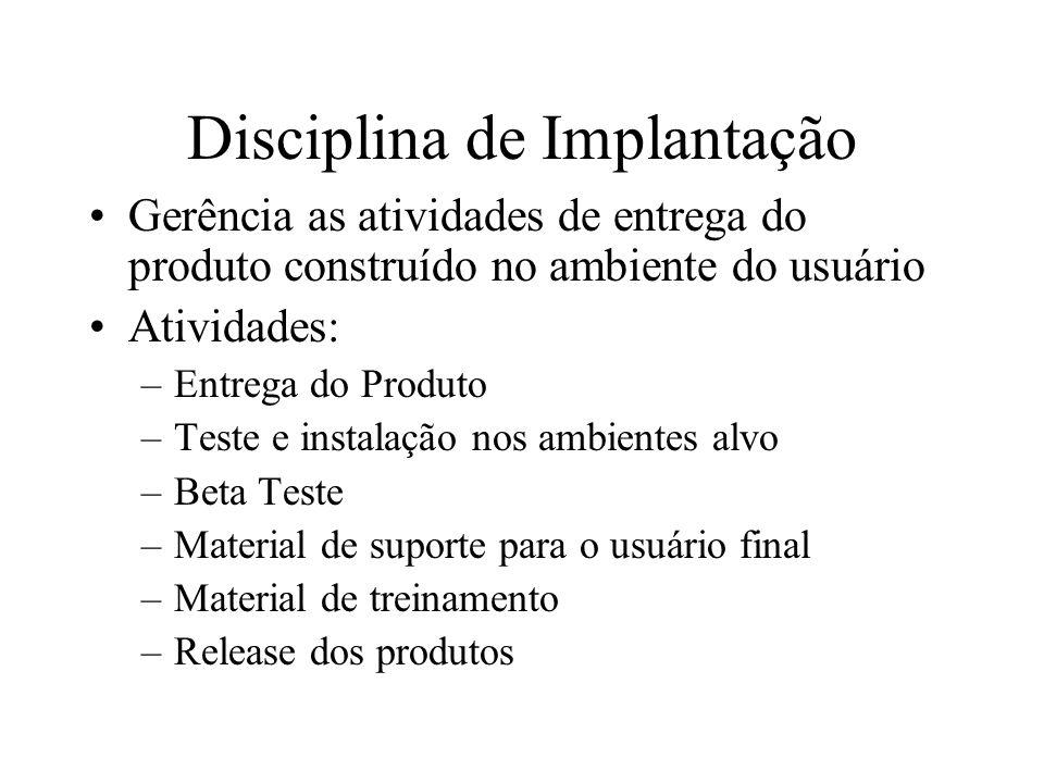 Disciplina de Implantação Gerência as atividades de entrega do produto construído no ambiente do usuário Atividades: –Entrega do Produto –Teste e inst