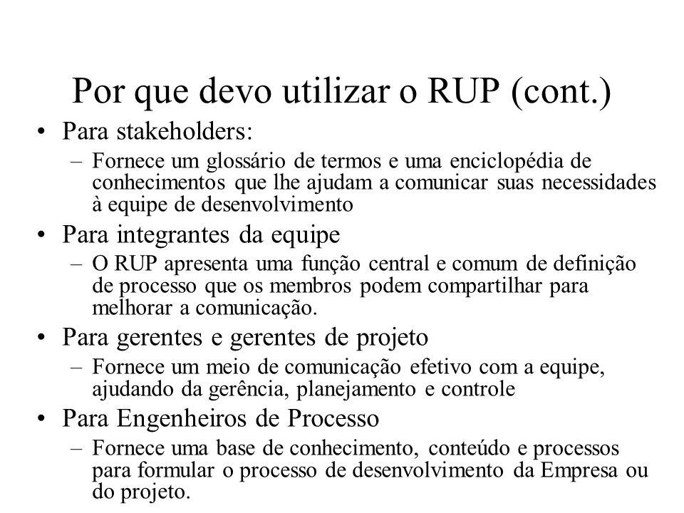 Por que devo utilizar o RUP (cont.) Para stakeholders: –Fornece um glossário de termos e uma enciclopédia de conhecimentos que lhe ajudam a comunicar