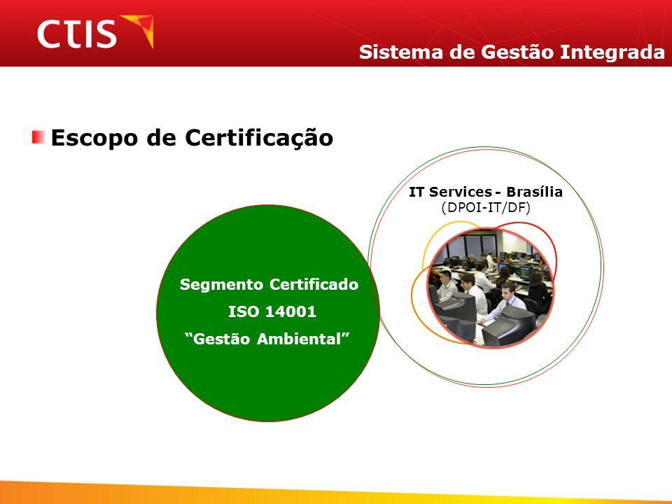 Sistema de Gestão Integrada Escopo de Certificação Segmento Certificado ISO 14001 Gestão Ambiental IT Services - Brasília (DPOI-IT/DF)