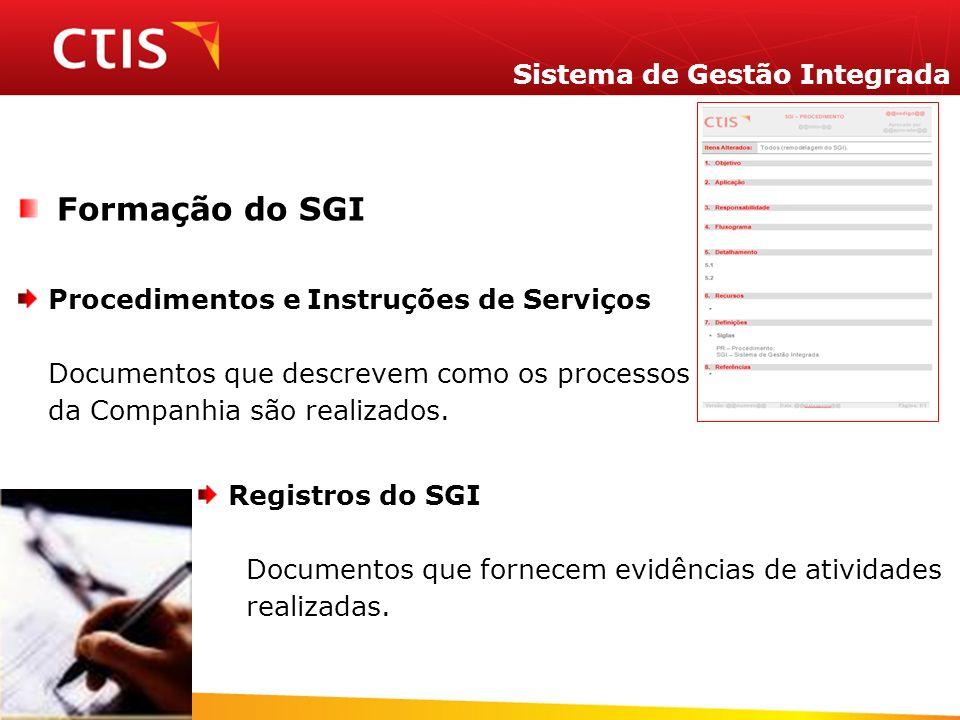 Sistema de Gestão Integrada Formação do SGI Procedimentos e Instruções de Serviços Documentos que descrevem como os processos da Companhia são realiza