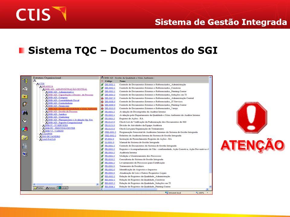 Sistema de Gestão Integrada Sistema TQC – Documentos do SGI IMPORTANTE TODOS CONHECER ATENÇÃOATENÇÃO
