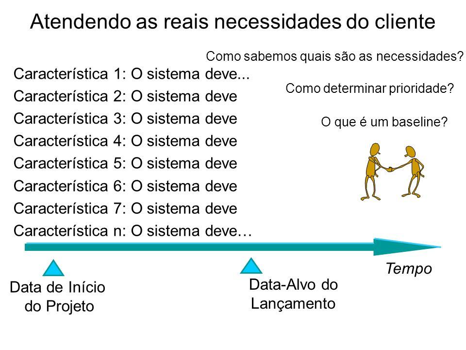 Atendendo as reais necessidades do cliente Característica 1: O sistema deve... Característica 2: O sistema deve Característica 3: O sistema deve Carac