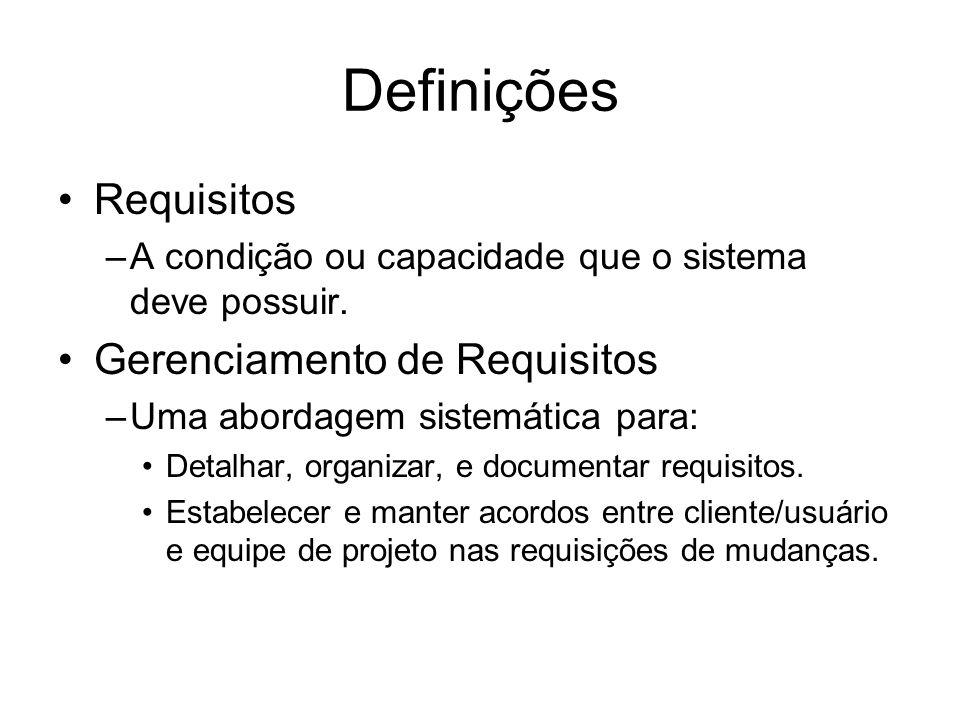 Definições Requisitos –A condição ou capacidade que o sistema deve possuir. Gerenciamento de Requisitos –Uma abordagem sistemática para: Detalhar, org