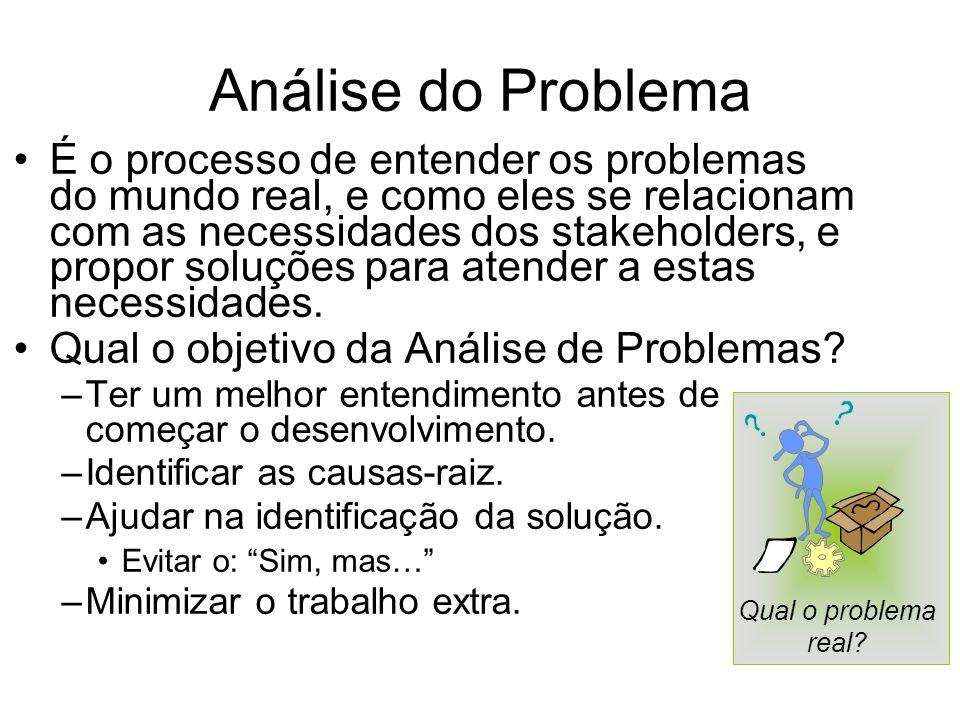 Análise do Problema É o processo de entender os problemas do mundo real, e como eles se relacionam com as necessidades dos stakeholders, e propor solu